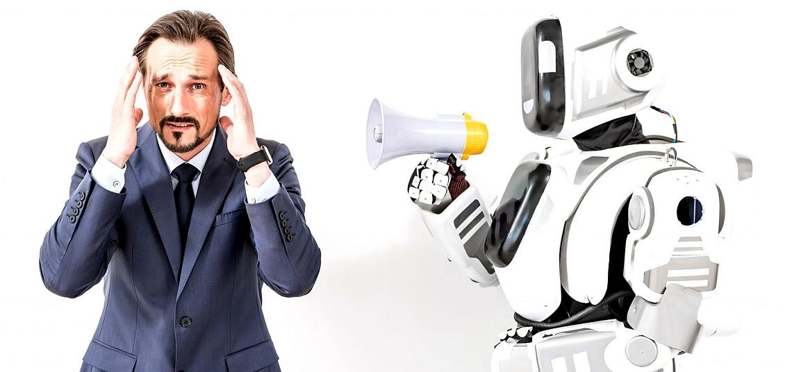 Bild Führungskraft mit Roboter